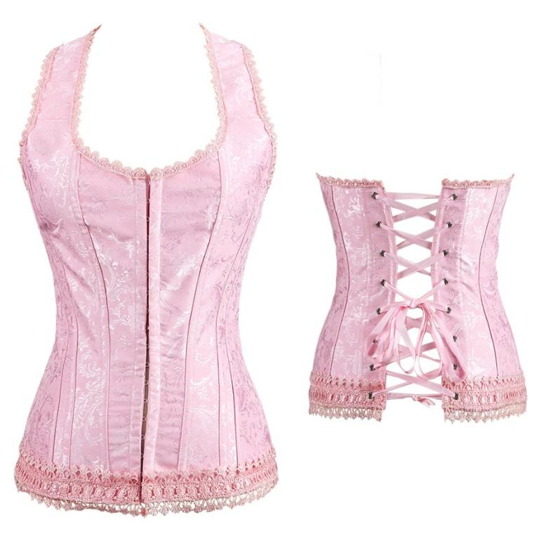OULII Women Overbust Corset Lace up Bustier Skirt Lingerie Boned Corset Waist Cincher Shapewear Size 4XL Pink