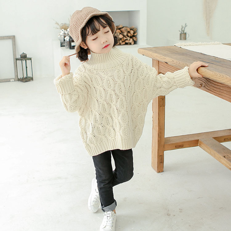 Baby bat sleeve sweater girls cotton solid color thick high collar twist sweater