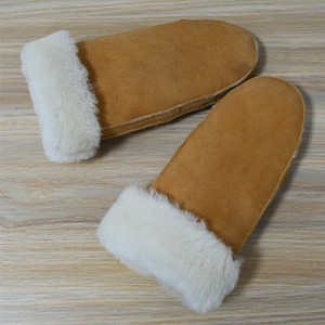 Women Winter Gloves Factory Sell Sheepskin Fur Lined Leather Mittens