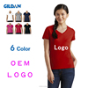 2016 high quality gildan tee OEM 100% cotton plain women v neck t shirt wholesale china