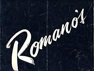 Romano's The Royalty of Restaurants Menu Sydney NSW Australia 1956