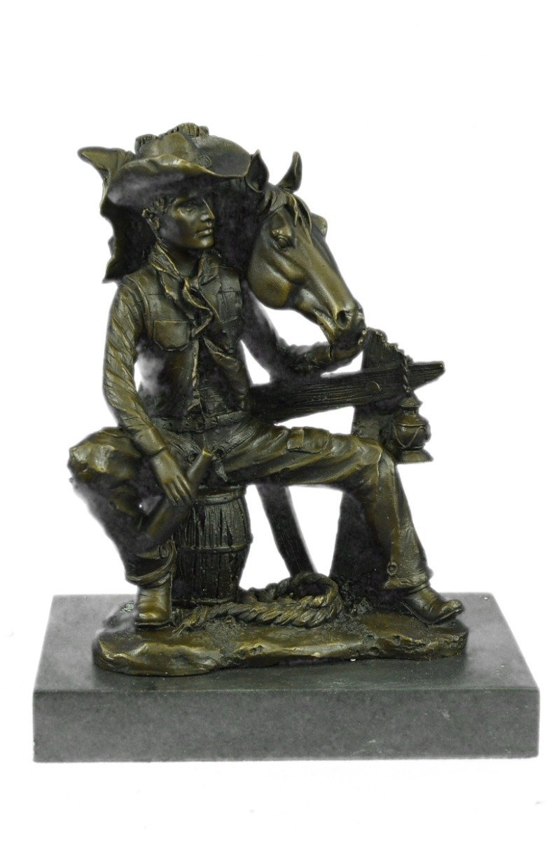 ...Handmade...European Bronze Sculpture Signed Original Cowboy Sitting On Barrel Drinking Whisky (1X-YRD-1163) Bronze Sculpture Statues Figurine Nude Office & Home Décor Collectibles Sale Deal Gifts