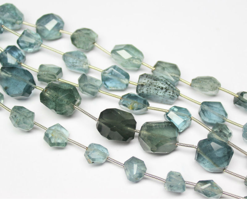 8 Inches - Size 8-16mm - Natural Moss Aquamarine Faceted Step Cut Tumble Beads - SF219