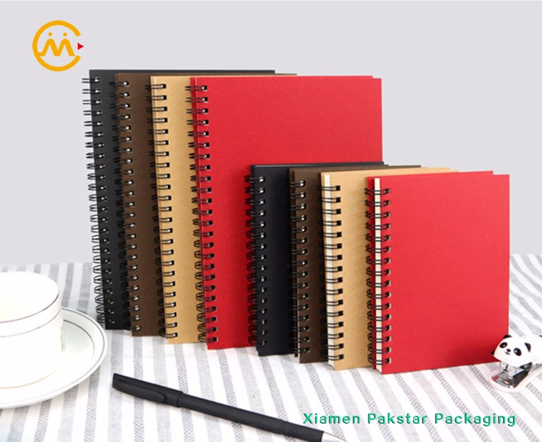 Wholesale eco Kraft paper hard cover custom spiral grid journal notebook for school