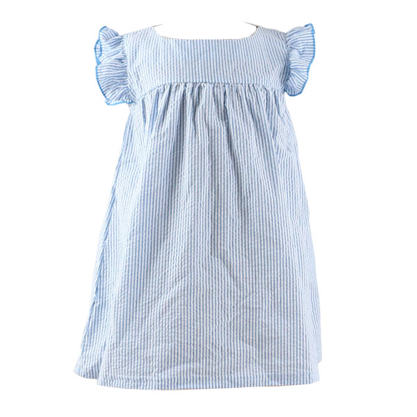 Summer wholesale botique new style casual seersucker fabric ruffle sleeve girls' dress