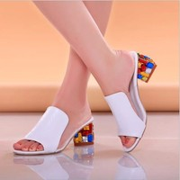 zm23117a 2017 latest fashion girls sandals slippers heel crystal women summer shoes