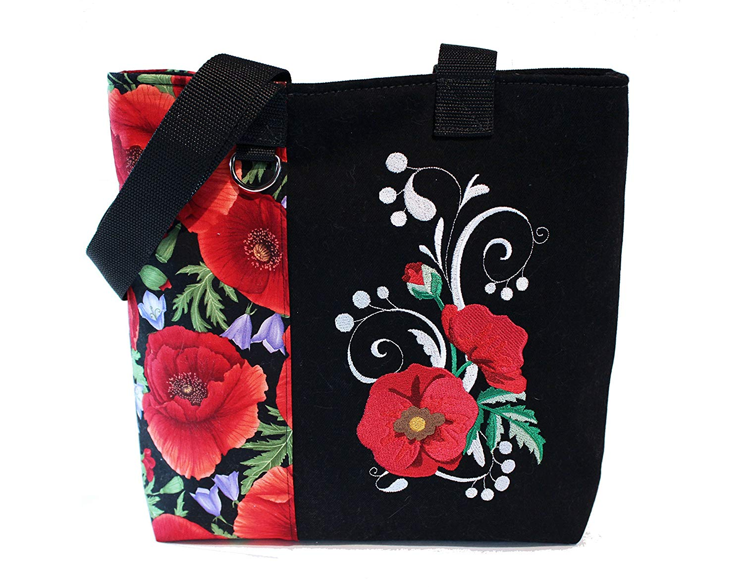 Tote Bag- Poppies- A recycled denim, embroidered, lined totebag. Eco-Friendly handbags.