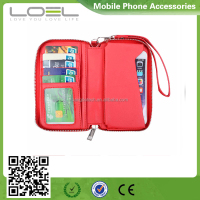 2016 factory new design mobile phone wallet with card holder leather bag for cell phone
