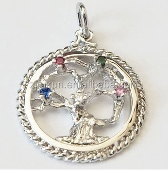 tree of life charms with 5 stones for bracelet and necklace zinc alloy pendants