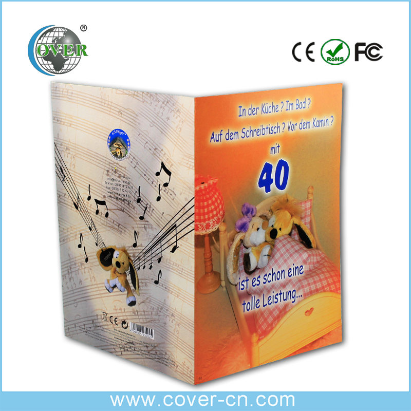 Promotional programme handmade beautiful greeting card with music for happy birthday