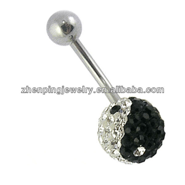 Surgery stainless steel crystal ball belly jewelry,body piercing jewelry