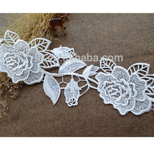 High Quality fashion design white polyester flower lace trim for wedding dress