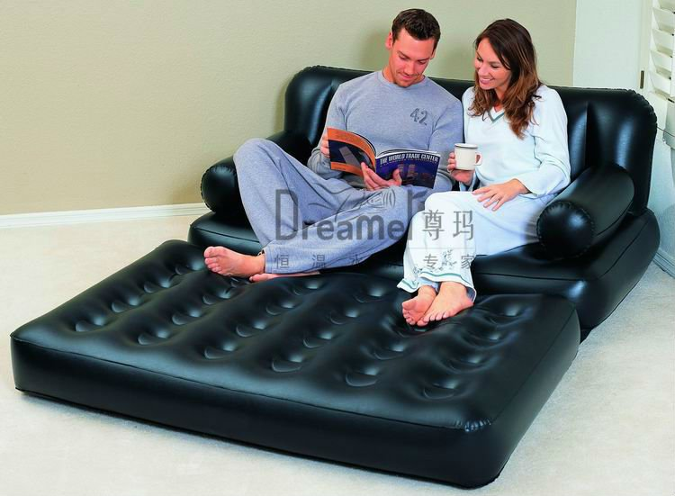 Chaise Folding Blow Up 2 Seater Bed SofaInflatable Plastic 5 In 1