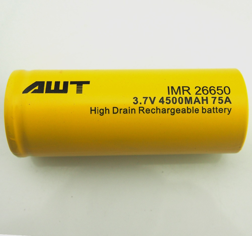 AWT High Drain 26650 4500mAh 75A rechargeable lithium battery for free 200w rx300 vape box mods rubber penis stokke xplory