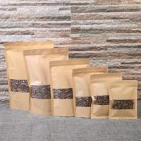 100g 200g Customized print Resealable Kraft Paper Stand Up Packaging Bag for nuts With Zipper window kraft food paper bag