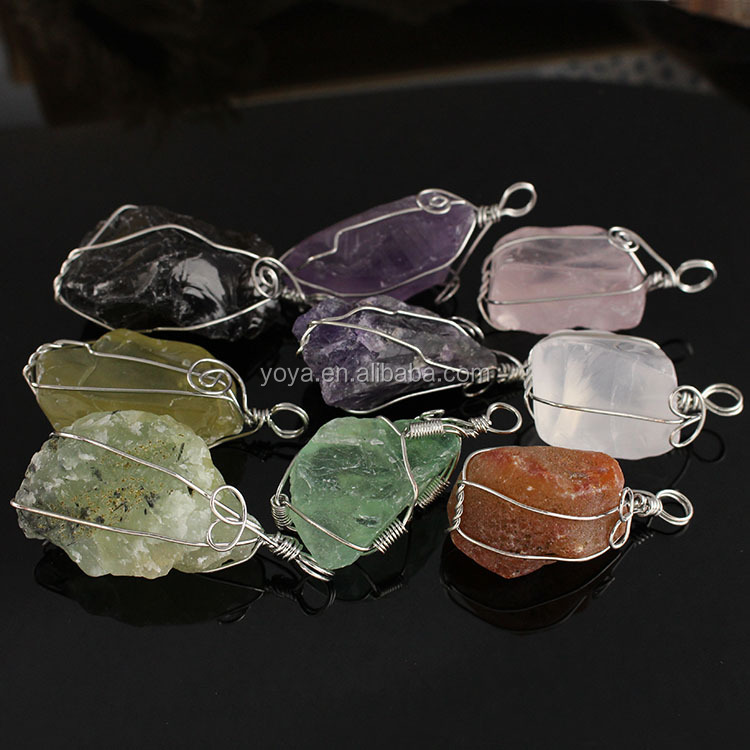 JF6877 Handmade wire wrap wrapped rough raw natural crystal quartz freeform nugget pendants