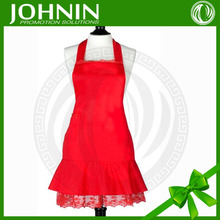 wholesale high quality solid red lace bib sexy cooking apron