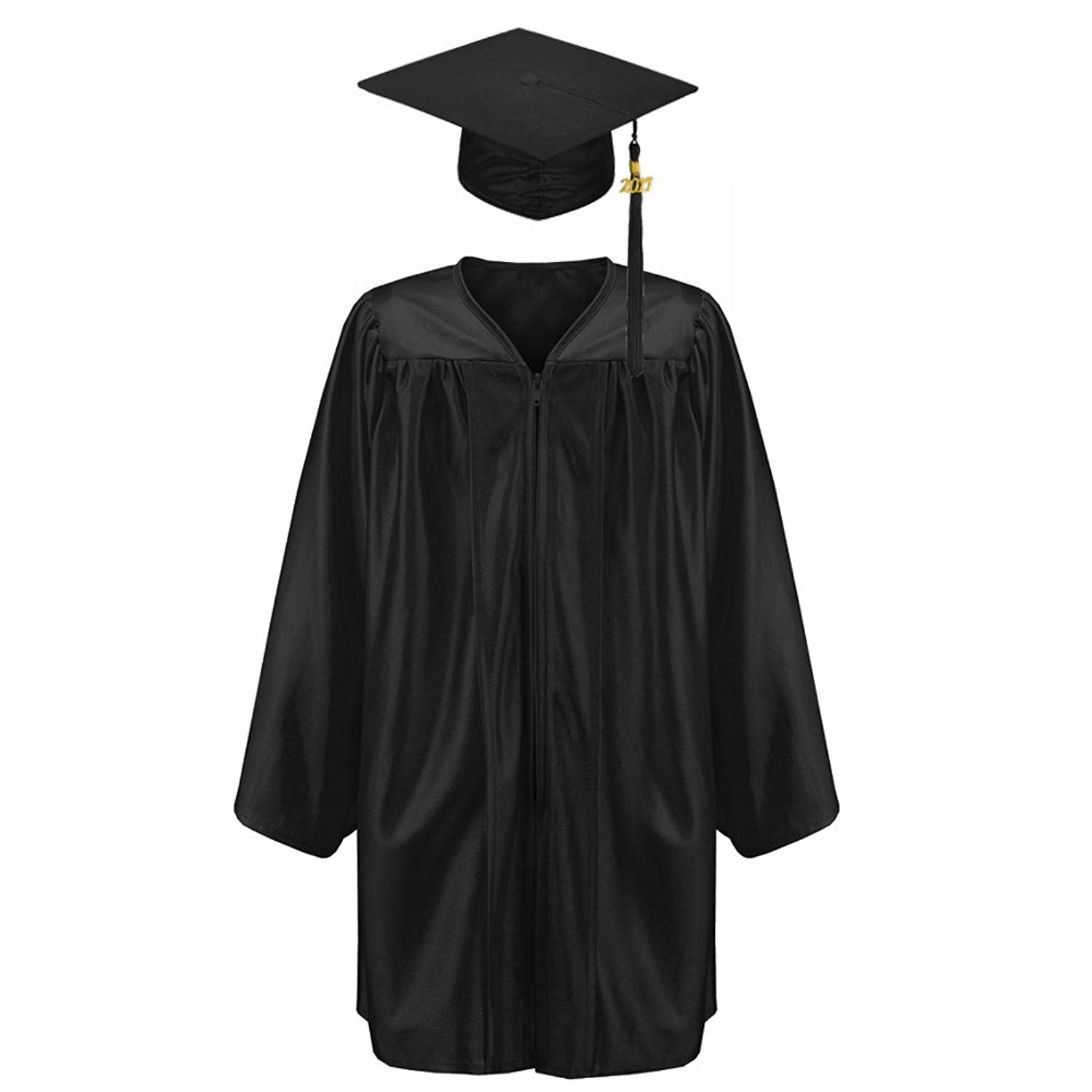 Robe Depot Unisex Shiny Kindergarten Graduation Gown Cap Tassel 2018 Package, Black,S