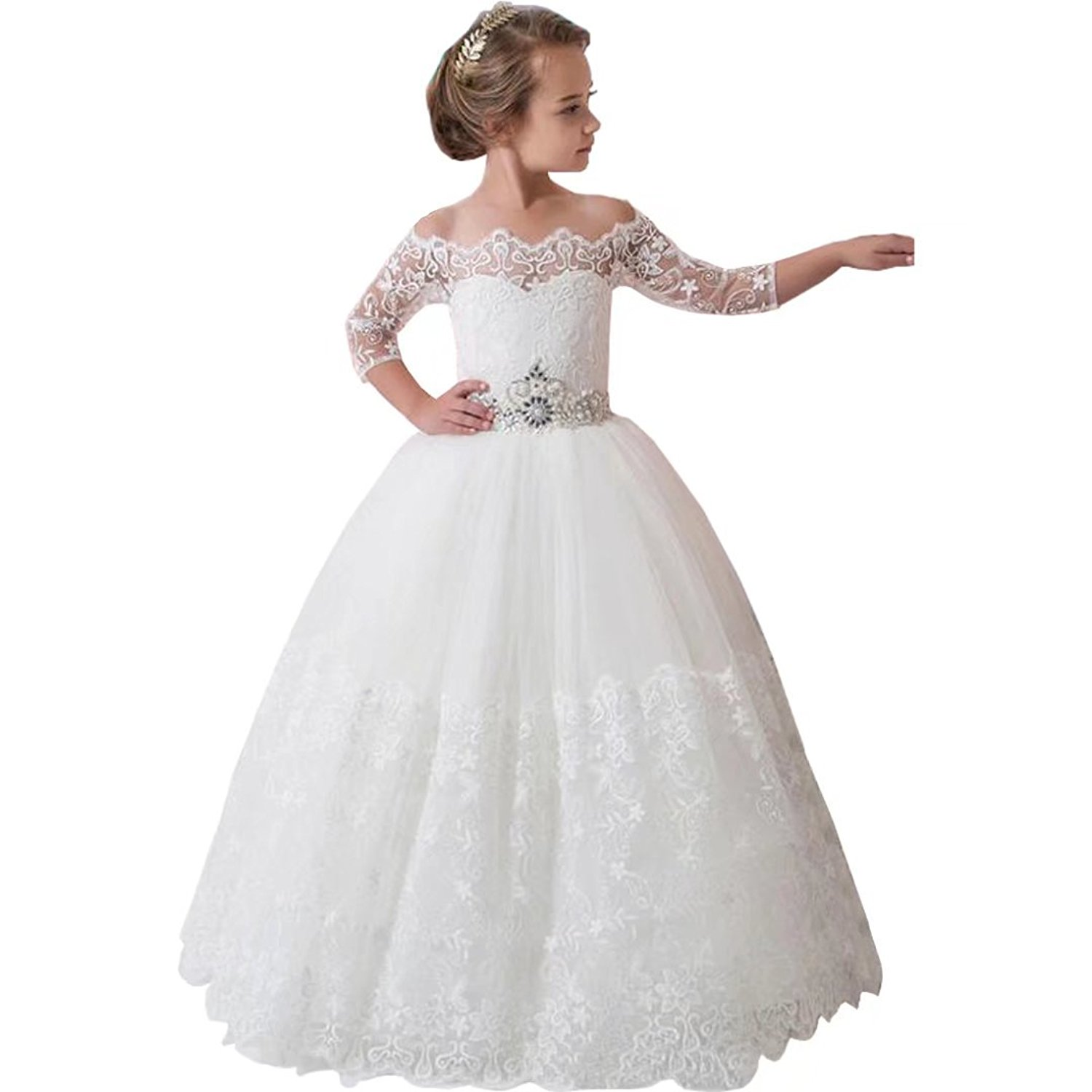 9e6cb50afa Get Quotations · Suiun Dress Flower Girls Dress With Sleeves Birthday Dress  Lace Tulle Skirt First Communion Dress