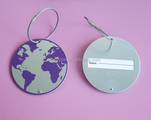 Aluminum logo the globe cheap metal luggage tag the earth metal bag tag