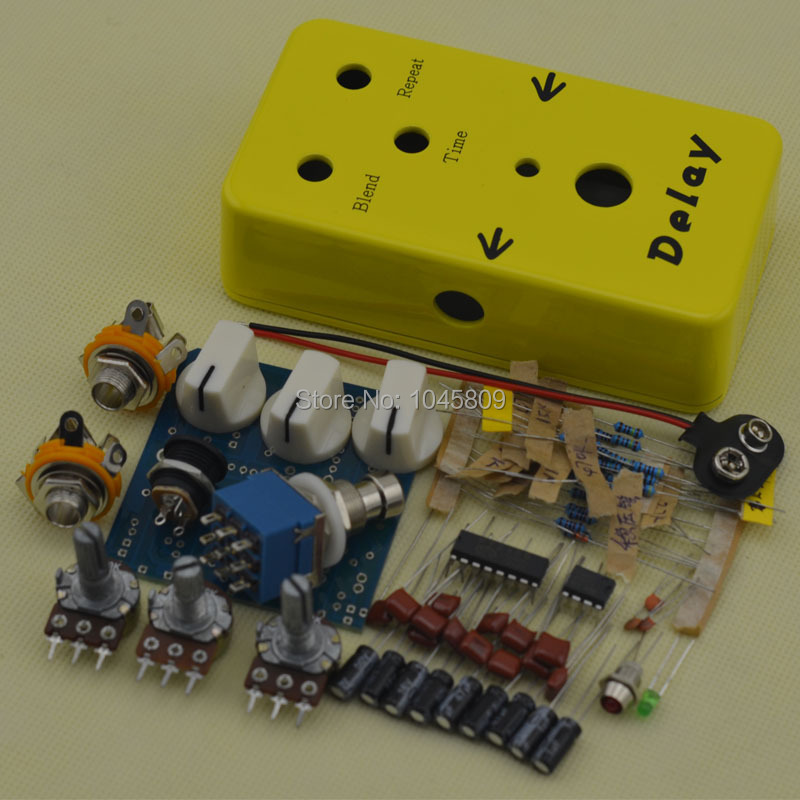 diy delay guitar effect pedal yellow delay guitar pedals part kits free shipping in guitar. Black Bedroom Furniture Sets. Home Design Ideas