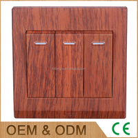 New style wall mounted 16A red wood zigbee light switches, 3 gangs plastic button