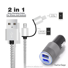 2 in 1 micro USB cable+ Car Charger Adapter with Dual 2 USB Port for iPhone SAMSUNG S6 S5 S4 Note5 4 3 2 LG G3 G4 G2 for HuaWei