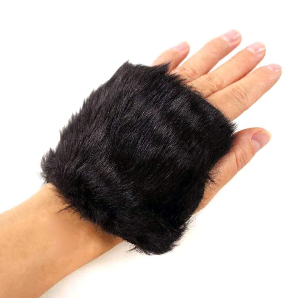 LOCOMO Women Girl Hand Warmer Fingerless Faux Fur Hair Gloves FAF035BLK Black