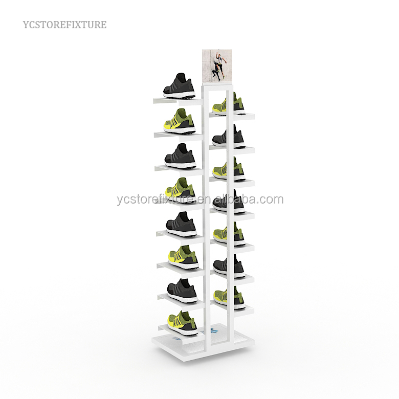 Famous brand retail store metal slatwall shoe display stands