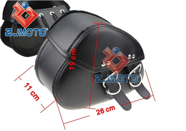 Universal Saddle Bag Cafe Racer Leather SaddleBags Chopper Carrier Sportster Swin Bragger Custom Motorcycle Side SaddleBag