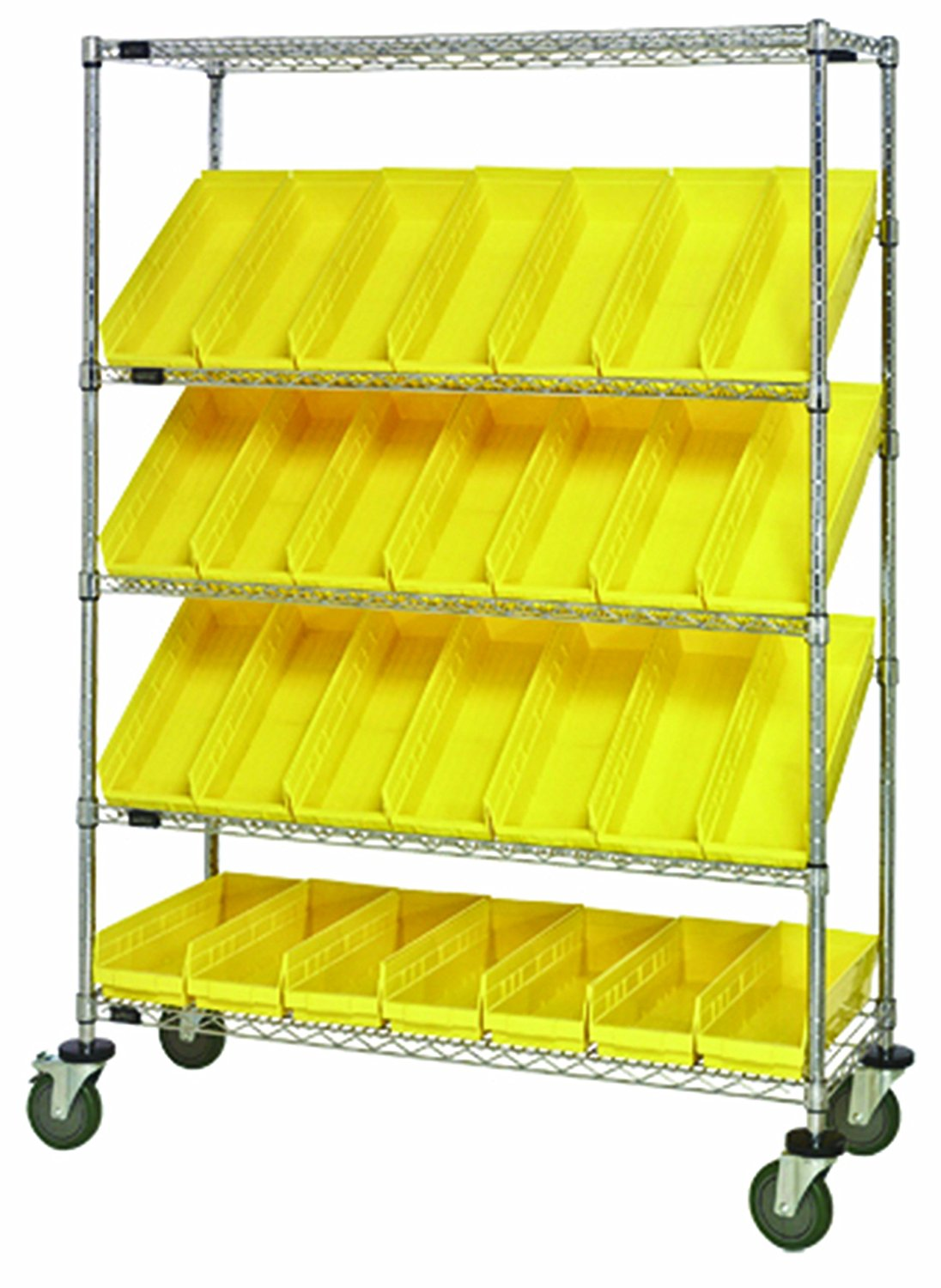 Quantum Storage Systems WRCSL5-63-1836-104IV 5-Tier Slanted Wire Shelving Suture Cart with 20 QSB104 Ivory Economy Shelf Bins 69 Height x 36 Width x 18 Depth Chrome Finish 2 Horizontal and 3 Slanted Shelves