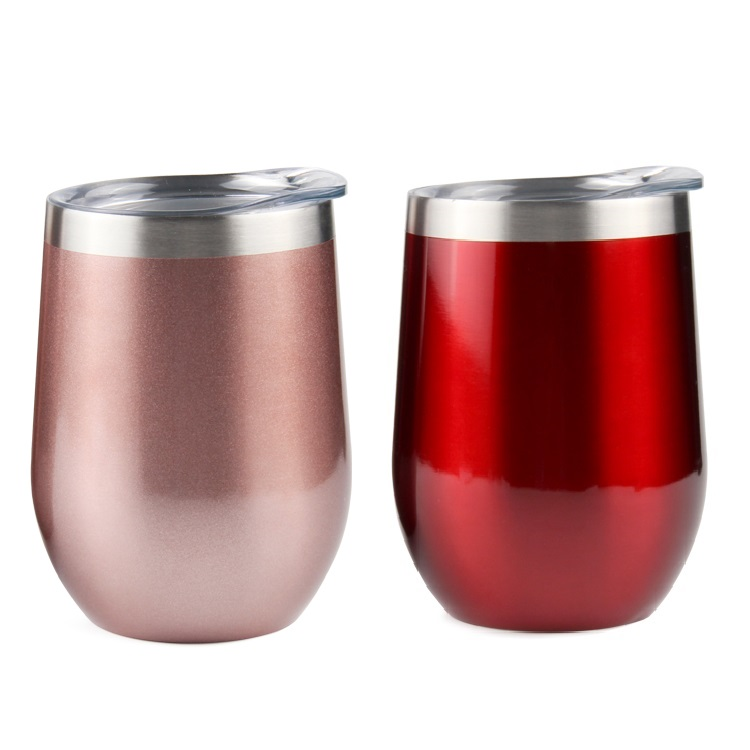 12 oz Stemless Wine Tumbler Stainless Steel Double Wall Vacuum Insulated <strong>Cups</strong> With BPA Free Lid Straw and Cleaning Brush