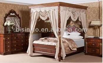 British 18th Century Windsor Style Bedroom Set Luxury Four Poster Wooden Canopy Bed Palace & British 18th Century Windsor Style Bedroom Set Luxury Four Poster ...