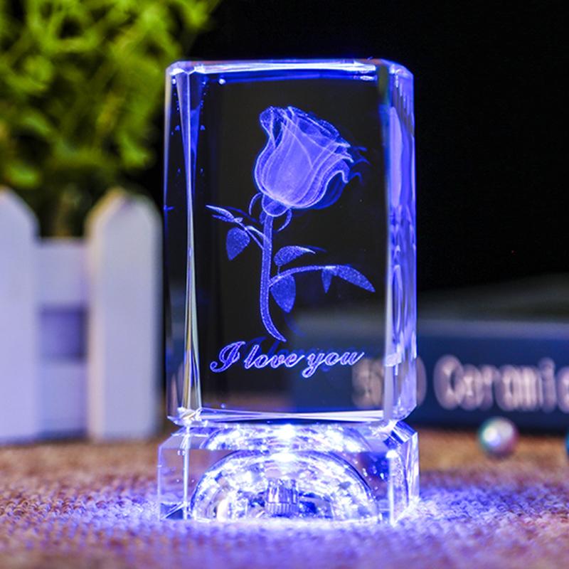 Wholesale K9 Cube Crystal 3D Laser Engraved Rose Flower Crafts LED Lights