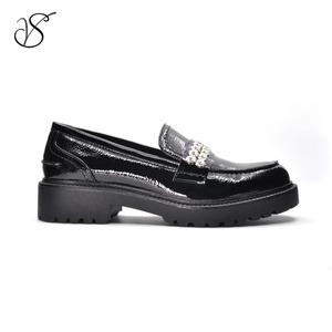 Women girl lady British Rivet PU casual Loafers shoes