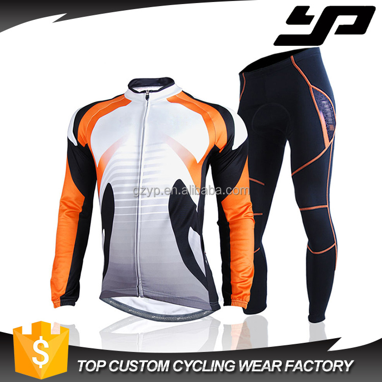 New product bright cycling wear custom sublimation orange cycling jersey