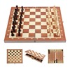 Custom personalized handmade luxury wood travel 3 in 1 backgammon game pieces and chess for sale