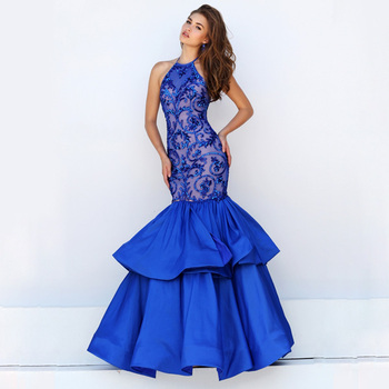 Navy Blue Puffy Shirt Fishtail Prom Dress Abendkleider Evening
