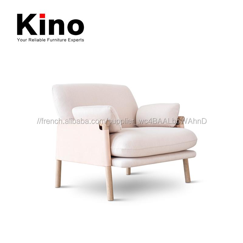 Moderne unique Italien en cuir fauteuil, cadre en bois massif tissu ...