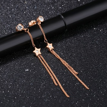 2017 Fashion Earring Designs With White Diamond Stud New Model 18k Rose Gold Long Chain Earrings