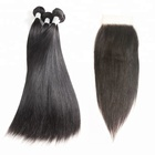 Good Review Feedback Best Quality 10A Brazilian Remy Human Hair Bundles With Silk Mink Base Lace 4x4 High Density Lace Closures