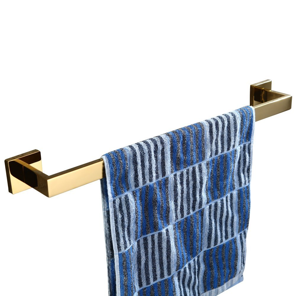 BigBig Home Towel Bar Towel Hanger Gold Finished Square Wall Mounted SUS 304 Stainless Steel, Modern Style Towel Holder Towel Rail Bathroom Accesssories