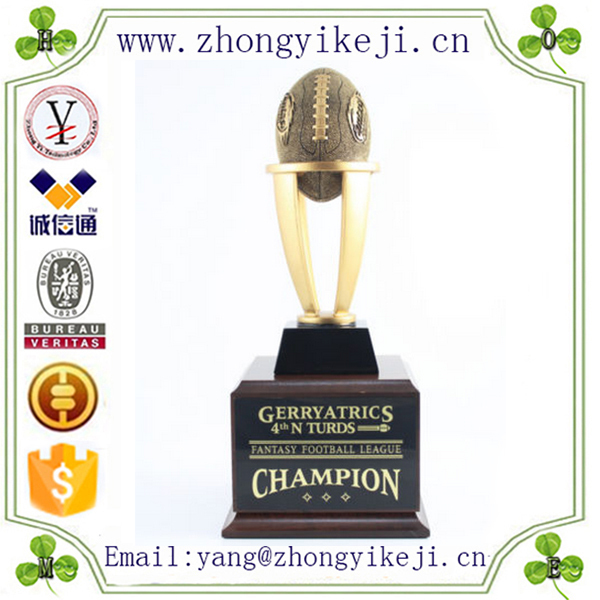 Custom made handmade carved hot new products resin fantasy football trophy