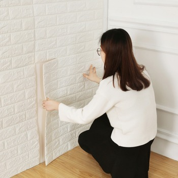 white 3d brick self adhesive wall sticker panel wallpaper for