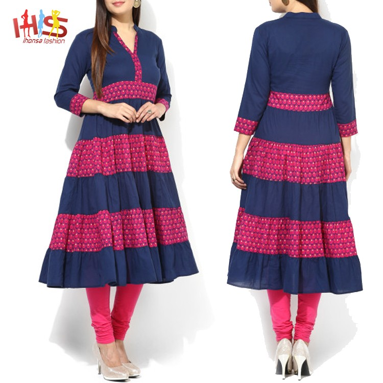 f309c0c9e1 Latest pakistani kurti designs images navy blue and pink printed designer  long ladies kurta design