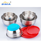 Hot Sales non-slip stainless steel salad cutter bowl,mixing bowl with lid, plastic bowl