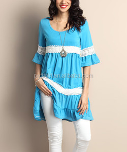 New Blue Crochet Bell-Sleeve Tunic Clothes Women Casual Dress