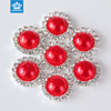 Wholesale half round crystal shiny plastic pearl beads silver base button for jewelry