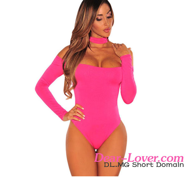 Latest Designs Rosy Choker Off Shoulder Bodysuit Women Sexi Top