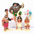 6pcs set Princess Moana Doll Maui Chief Tui Tala Heihei Pua Action Figure Brinquedo Toys For